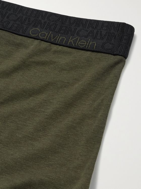 CALVIN KLEIN UNDERWEAR Stretch Cotton, REFIBRA and Modal-Blend Jersey Boxer Briefs