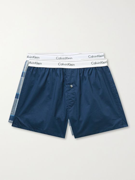 CALVIN KLEIN UNDERWEAR Two-Pack Modern Slim-Fit Cotton Boxer Shorts