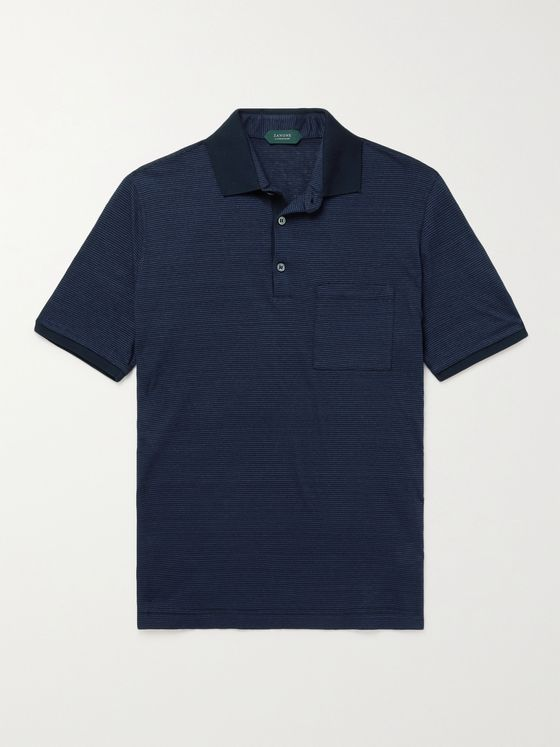 INCOTEX Slim-Fit Striped Linen and Cotton-Blend Polo Shirt