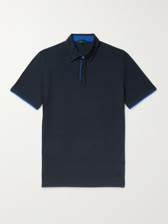 INCOTEX Contrast-Trimmed Ice Cotton Polo Shirt