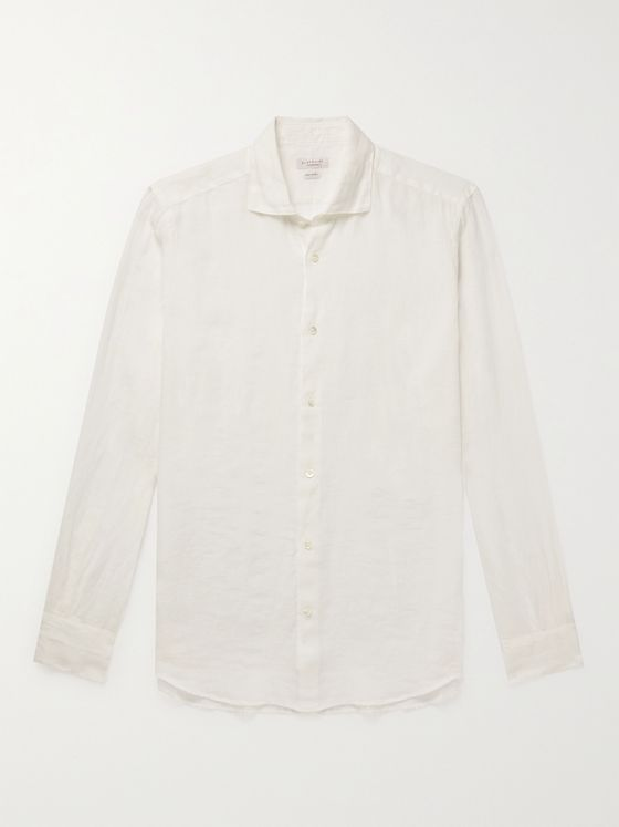INCOTEX Fellini Slim-Fit Cutaway-Collar Linen Shirt