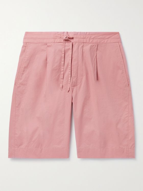 INCOTEX Pleated Cotton-Blend Popelino Drawstring Shorts