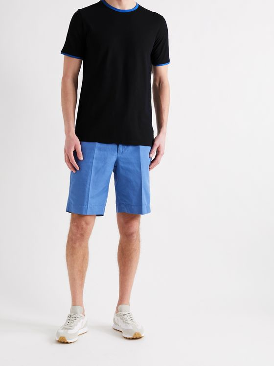 INCOTEX Contrast-Tipped Ice Cotton-Jersey T-Shirt