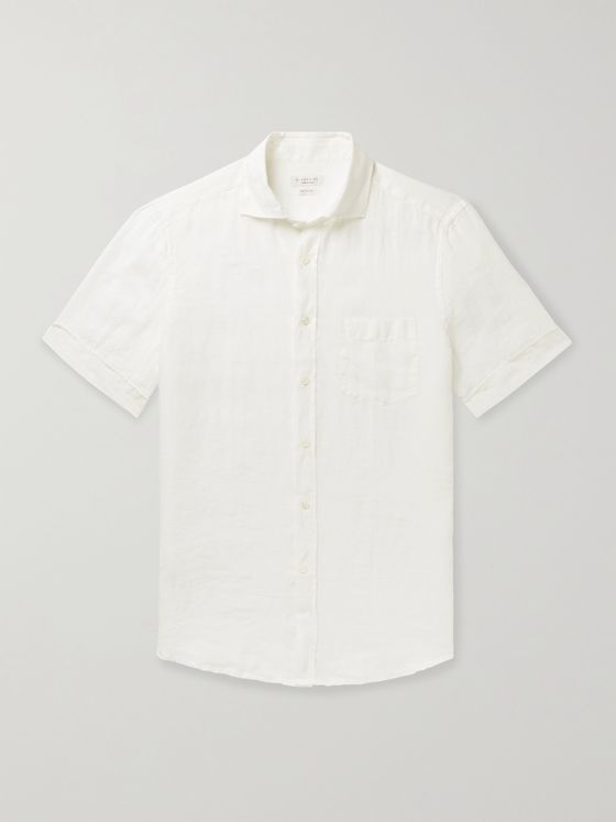 INCOTEX Garment-Dyed Linen Shirt