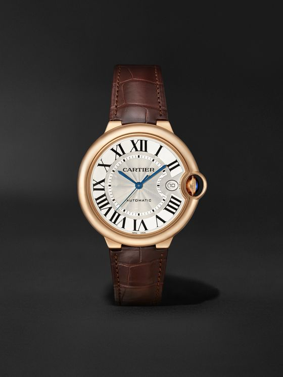 CARTIER Ballon Bleu de Cartier Automatic 40mm 18-Karat Pink Gold and Alligator Watch, Ref. No. WGBB0035