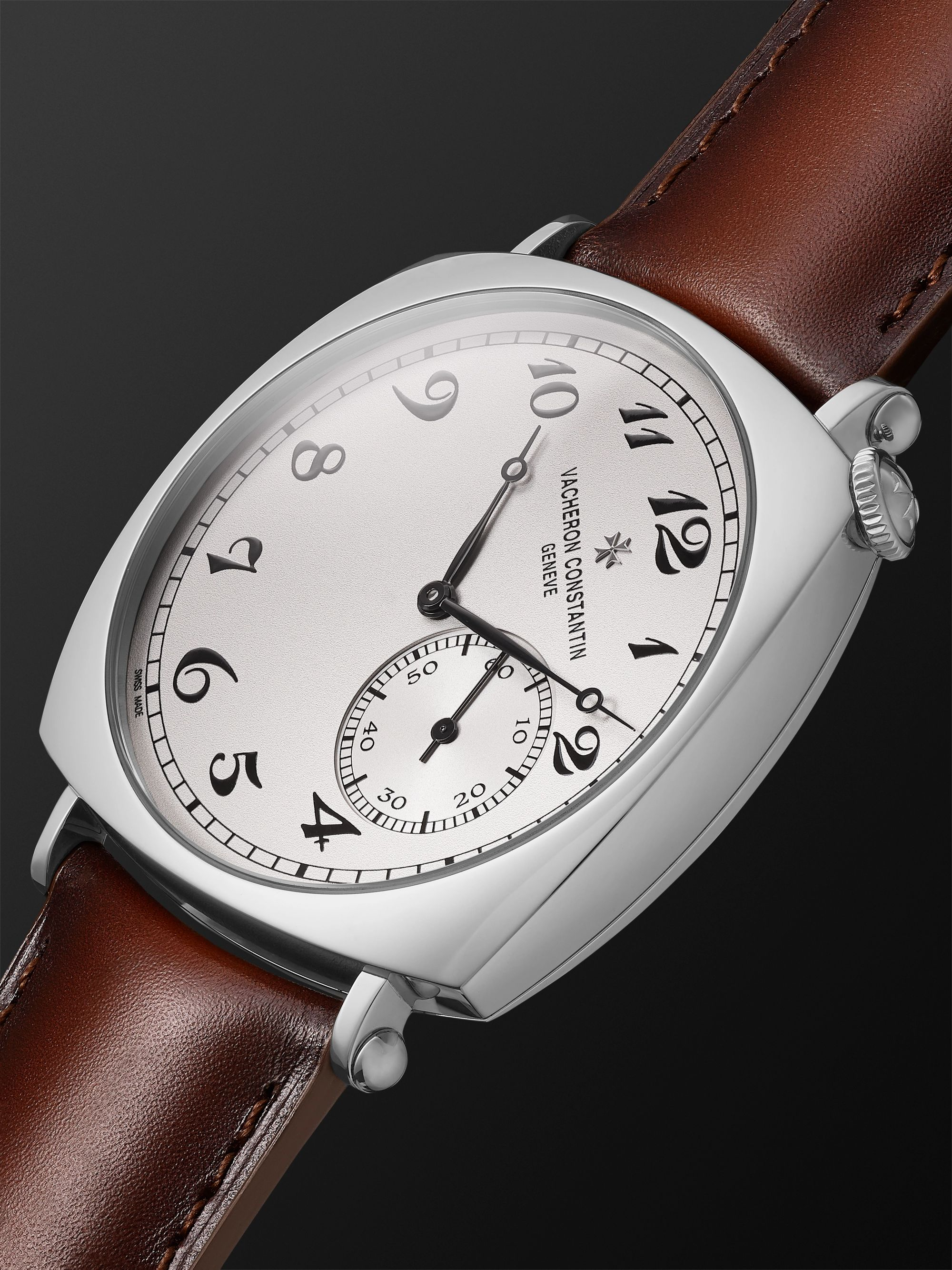 VACHERON CONSTANTIN Historiques American 1921 Hand-Wound 40mm 18-Karat White Gold and Leather Watch, Ref. No. 82035/000G-B735