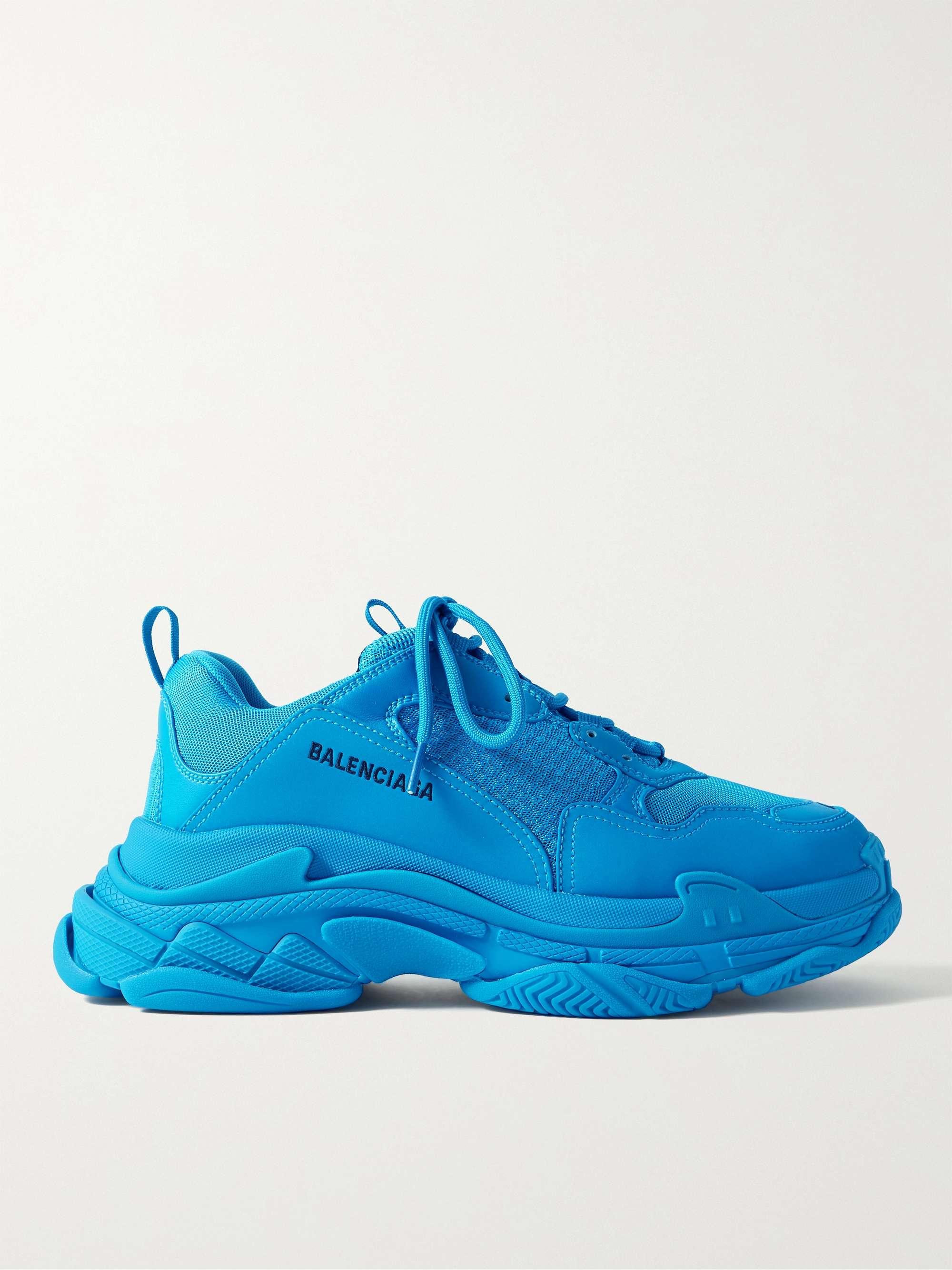 발렌시아가 트리플S 남성용 Balenciaga Triple S Mesh and Faux Leather Sneakers,Blue