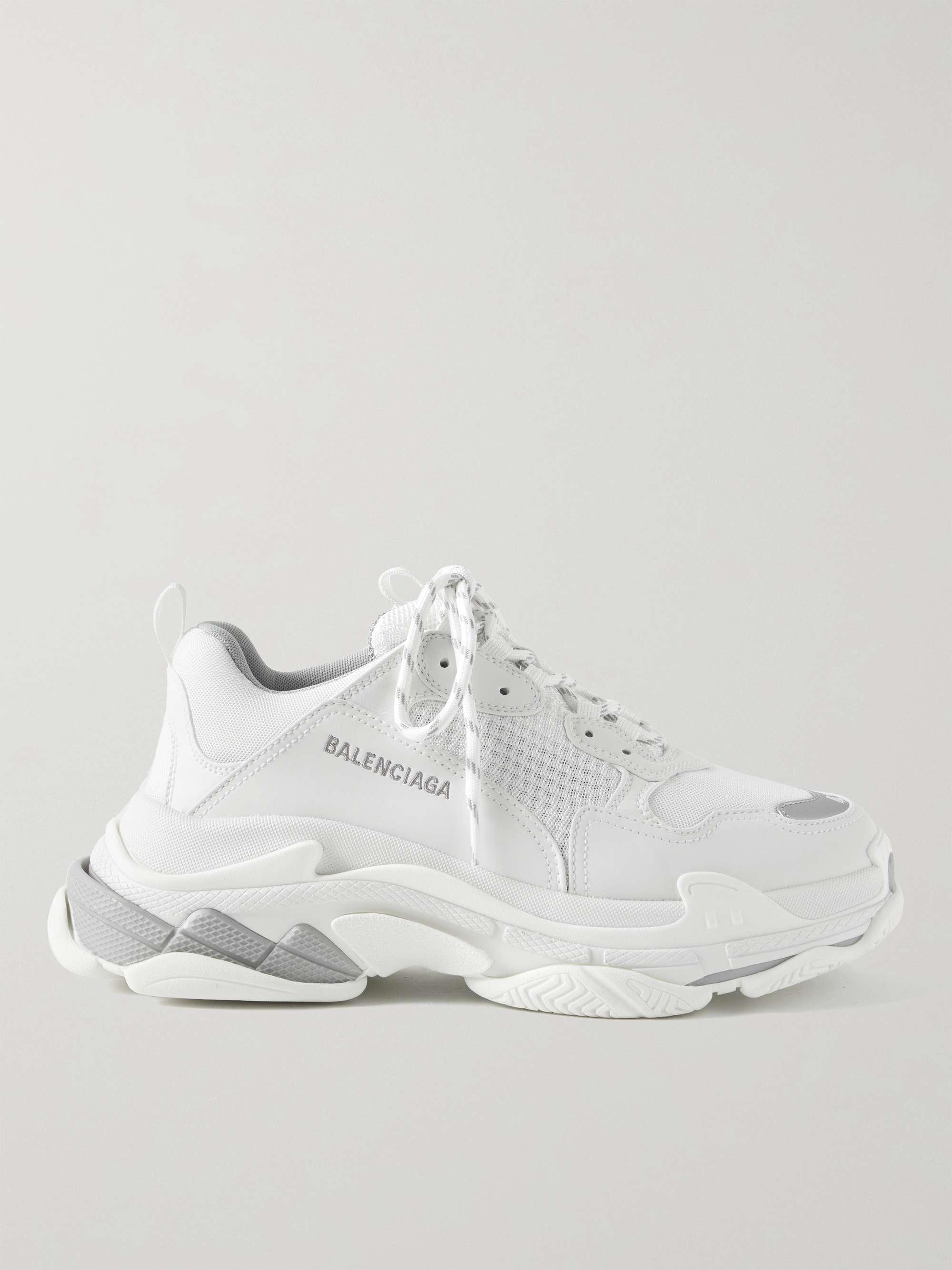 발렌시아가 트리플S 남성용 Balenciaga Triple S Mesh and Faux Leather Sneakers,White
