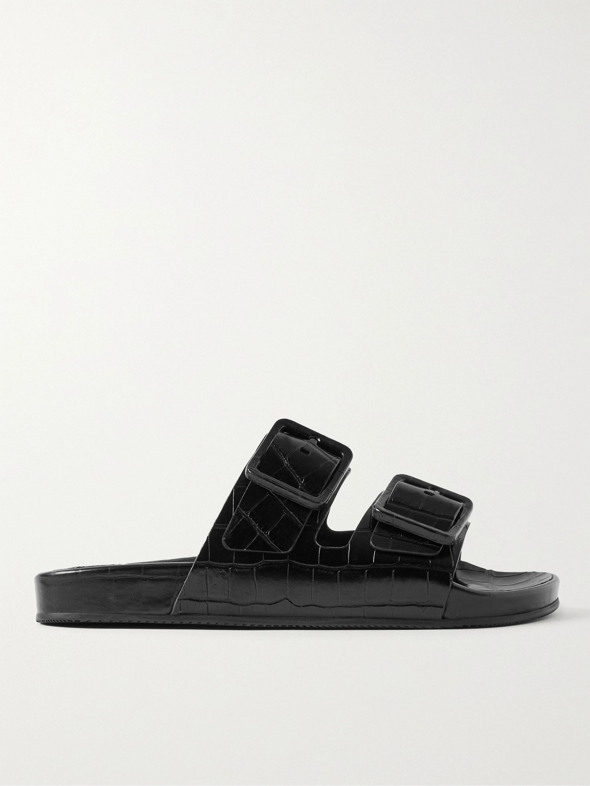 발렌시아가 Balenciaga Mallorca Croc-Effect Leather Sandals,Black