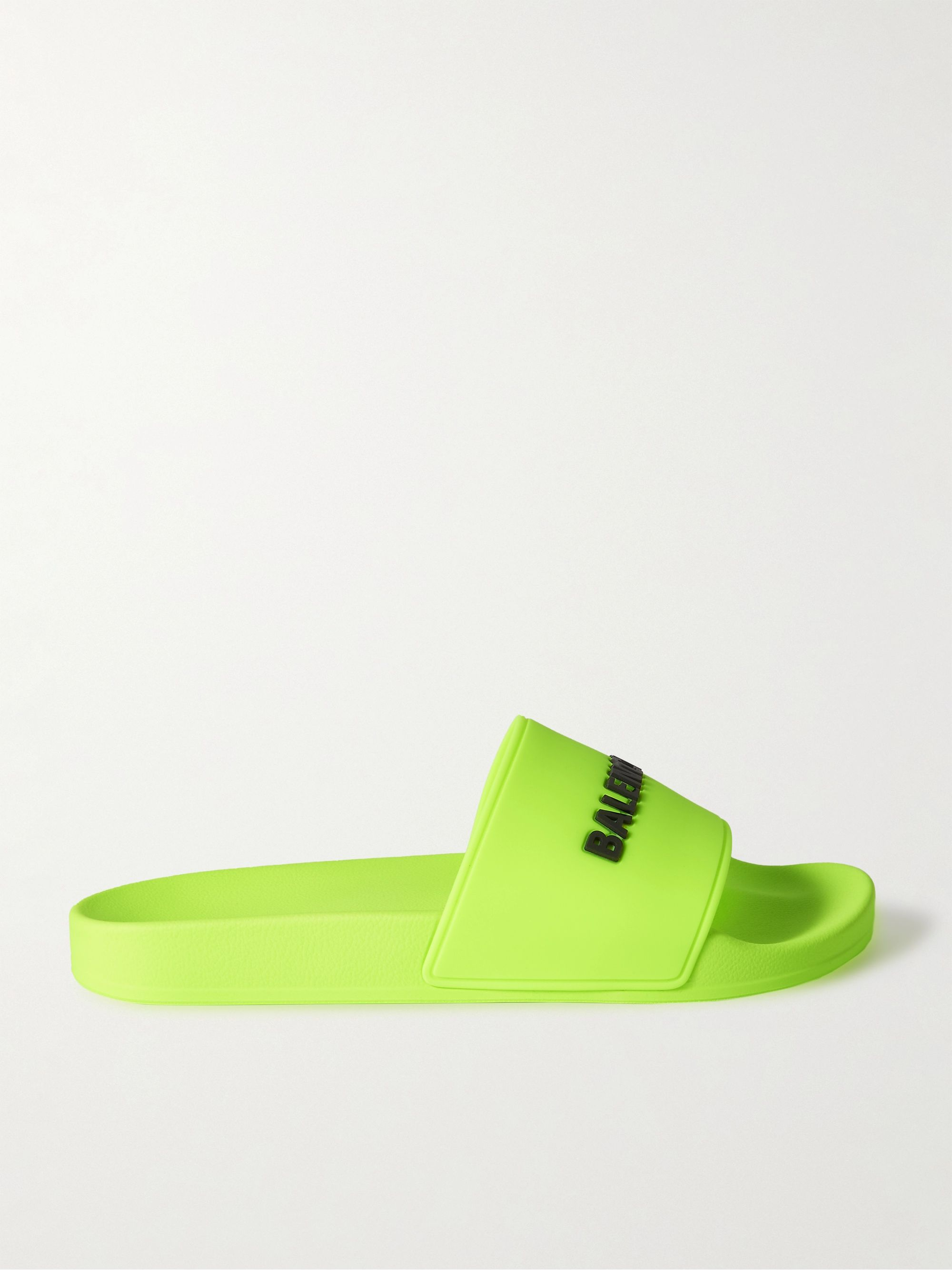 발렌시아가 Balenciaga Logo-Detailed Rubber Slides,Yellow