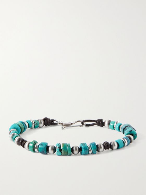 PEYOTE BIRD Alpine Sterling Silver, Leather and Turquoise Beaded Bracelet
