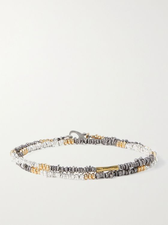 PEYOTE BIRD Counterpoint Sterling Silver and Gold-Filled Wrap Bracelet