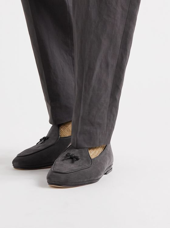 RUBINACCI Marphy Leather-Trimmed Suede Loafers