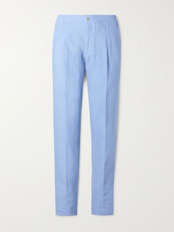 RUBINACCI Tapered Pleated Linen Trousers