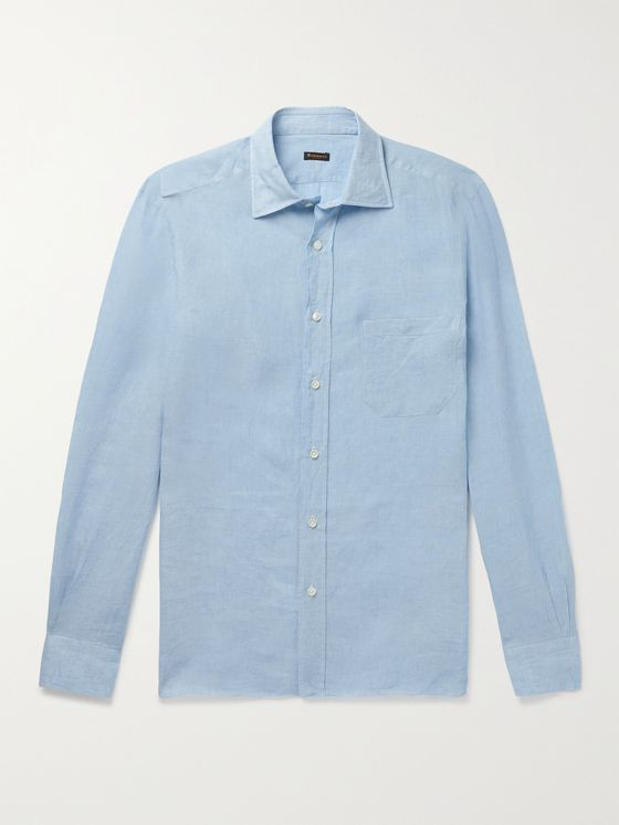 RUBINACCI Spread-Collar Linen Shirt
