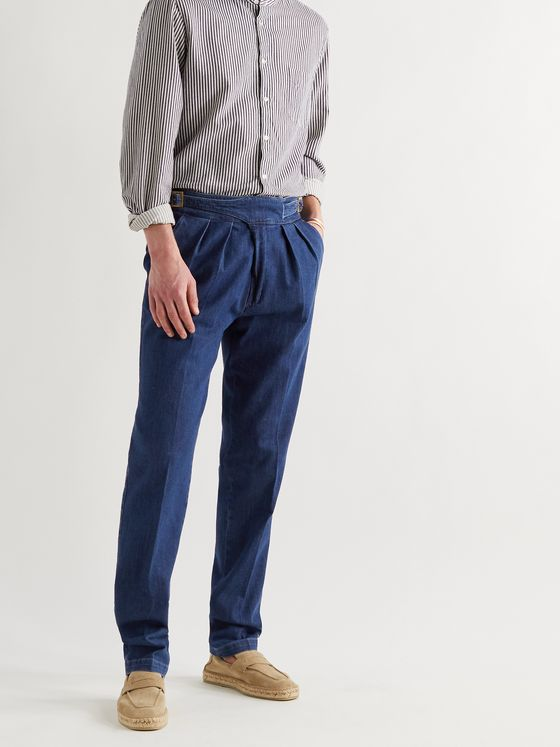 RUBINACCI Manny Pleated Cotton-Chambray Trousers