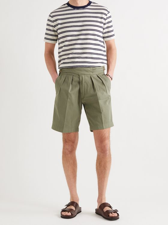 RUBINACCI Manny Pleated Virgin Wool and Linen-Blend Twill Shorts