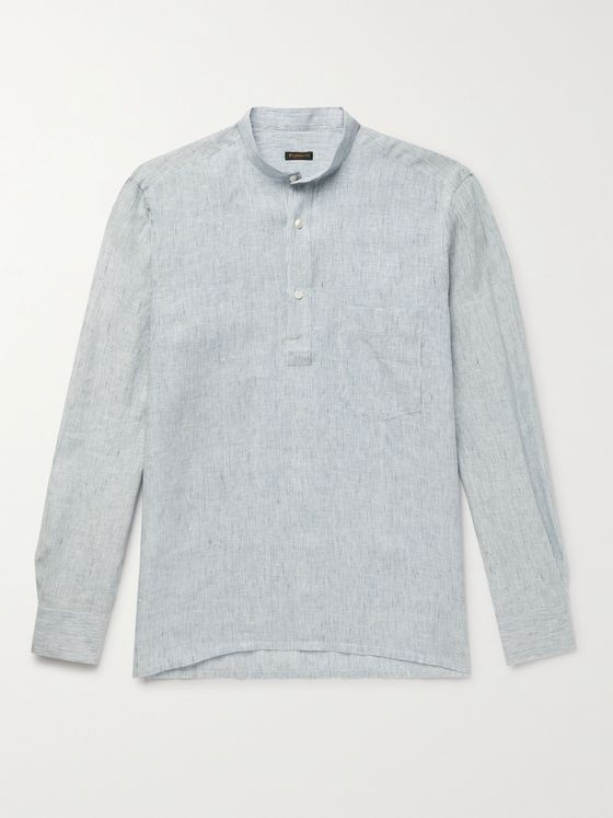 RUBINACCI Grandad-Collar Striped Linen Half-Placket Shirt