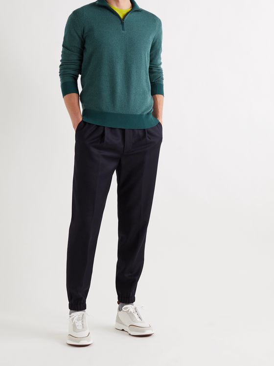LORO PIANA Striped Cashmere Half-Zip Sweater