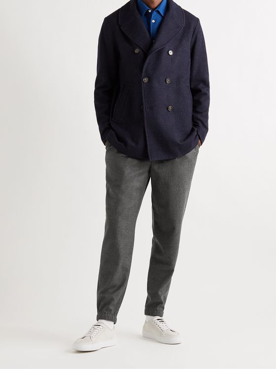 LORO PIANA Tapered Pleated Virgin Wool and Cashmere-Blend Flannel Trousers