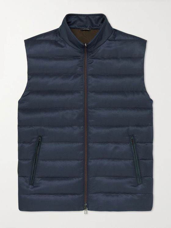 LORO PIANA Gateway Rain System Quilted Silk-Twill Down Gilet