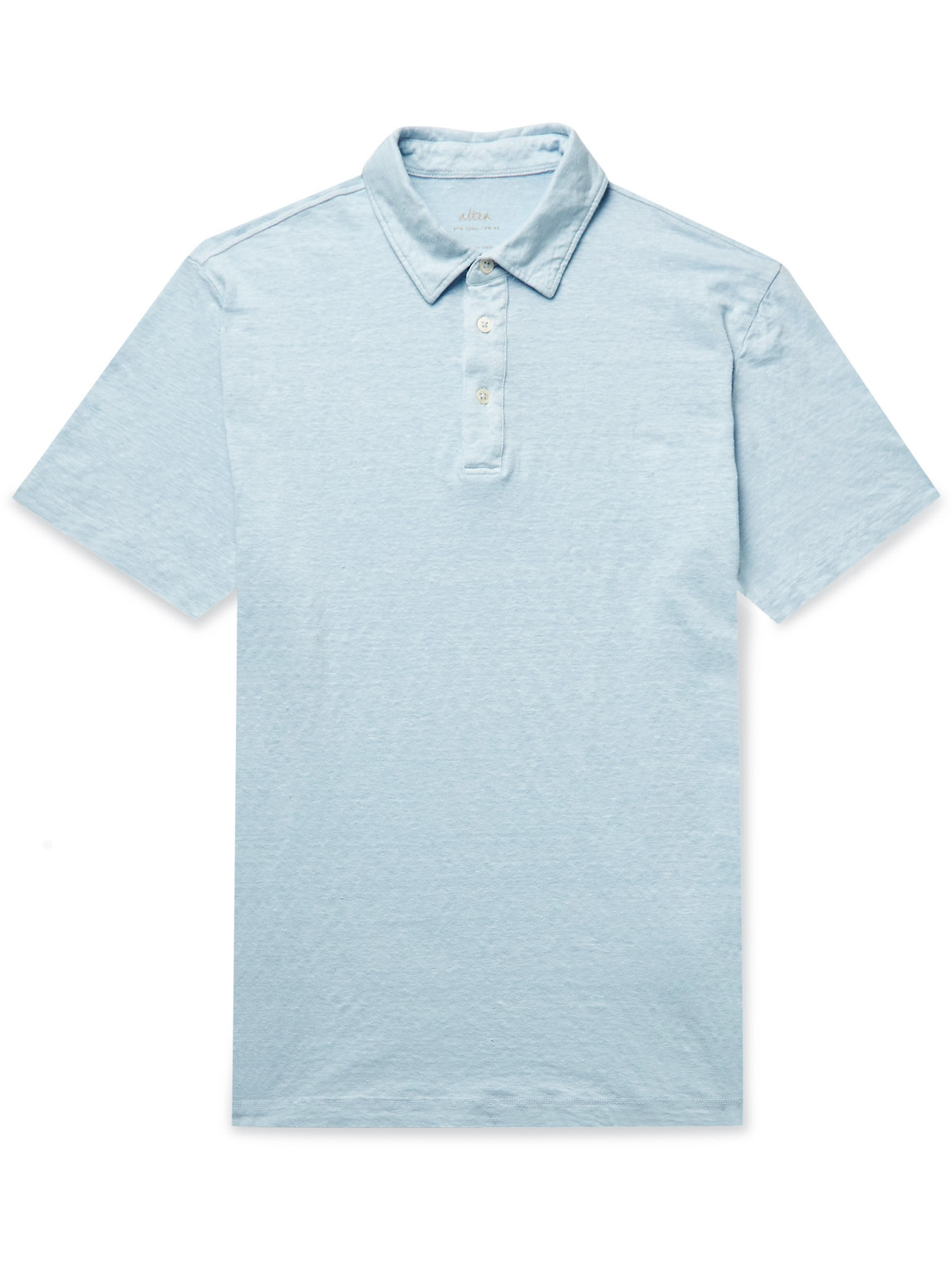 Altea Slub Stretch-linen Polo Shirt In Blue