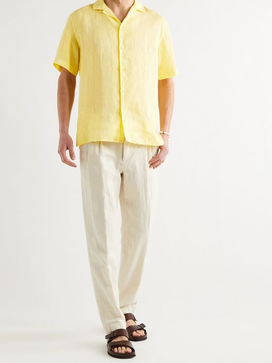 ALTEA Baker Camp-Collar Linen Shirt