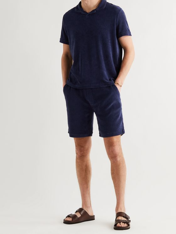 ALTEA Cotton-Blend Terry Drawstring Shorts