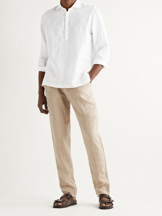 ALTEA Tyler Linen Half-Placket Shirt