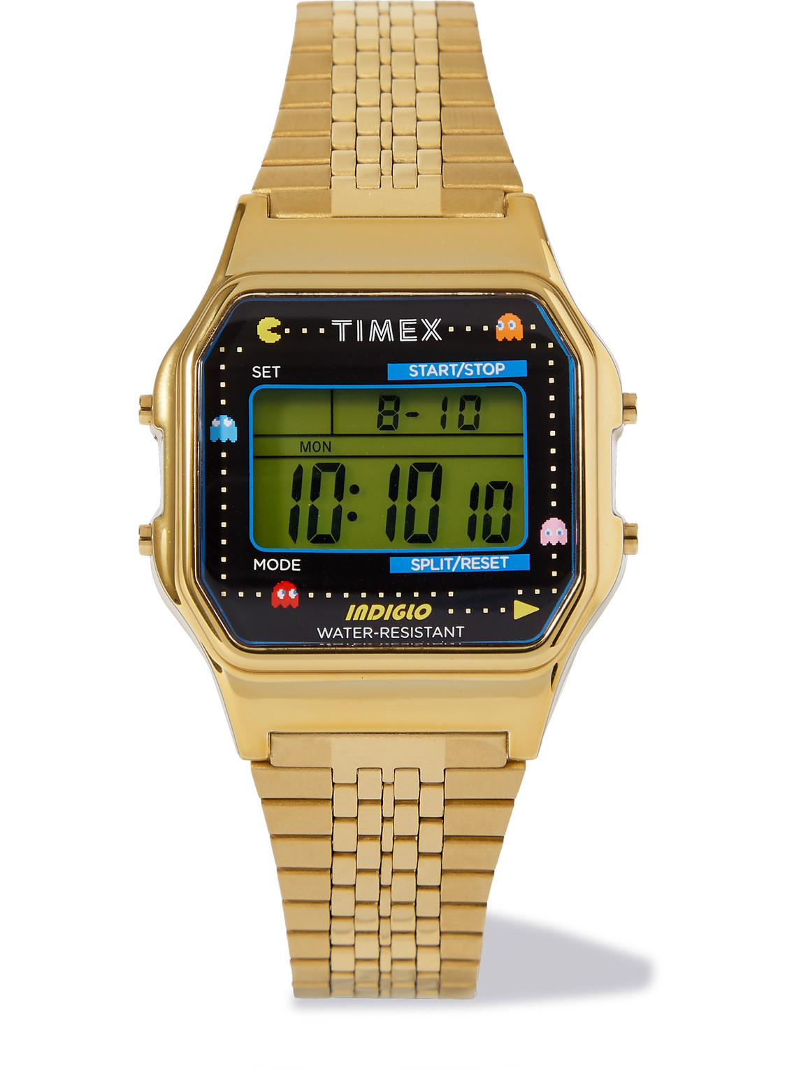 TIMEX PAC-MAN T80 34MM GOLD-TONE STAINLESS STEEL DIGITAL WATCH