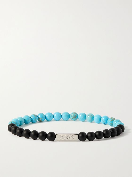 HUGO BOSS Silver-Tone Agate Beaded Bracelet