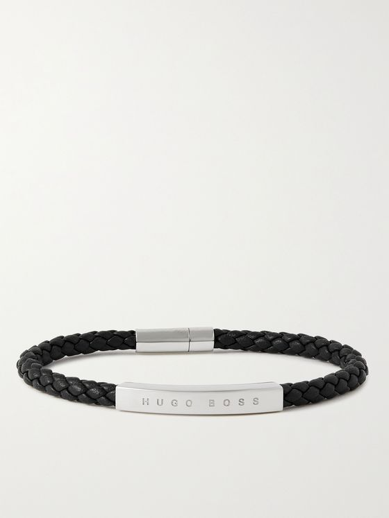 HUGO BOSS Silver-Tone and Woven Leather Bracelet