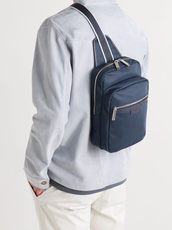 HUGO BOSS Meridian Leather-Trimmed Shell Backpack
