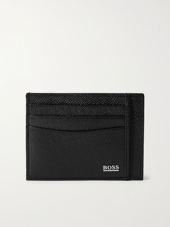 HUGO BOSS Cross-Grain Leather Cardholder