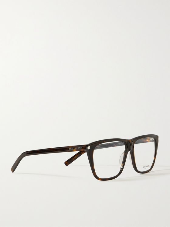 SAINT LAURENT Square-Frame Tortoiseshell Acetate Optical Glasses