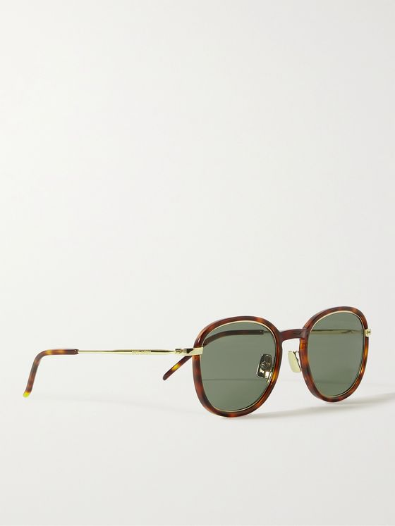 SAINT LAURENT Round-Frame Tortoiseshell Acetate and Gold-Tone Sunglasses