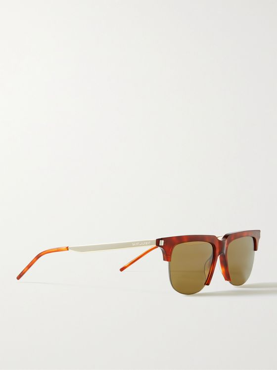 SAINT LAURENT D-Frame Tortoiseshell Acetate and Gold-Tone Sunglasses
