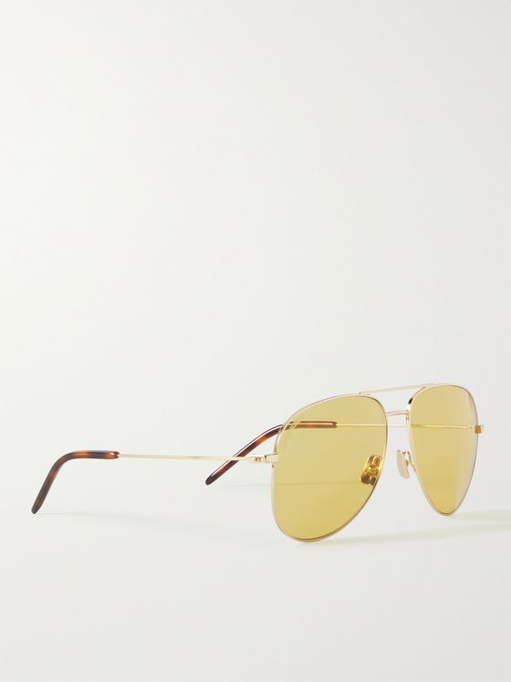 SAINT LAURENT Aviator-Style Gold-Tone Sunglasses