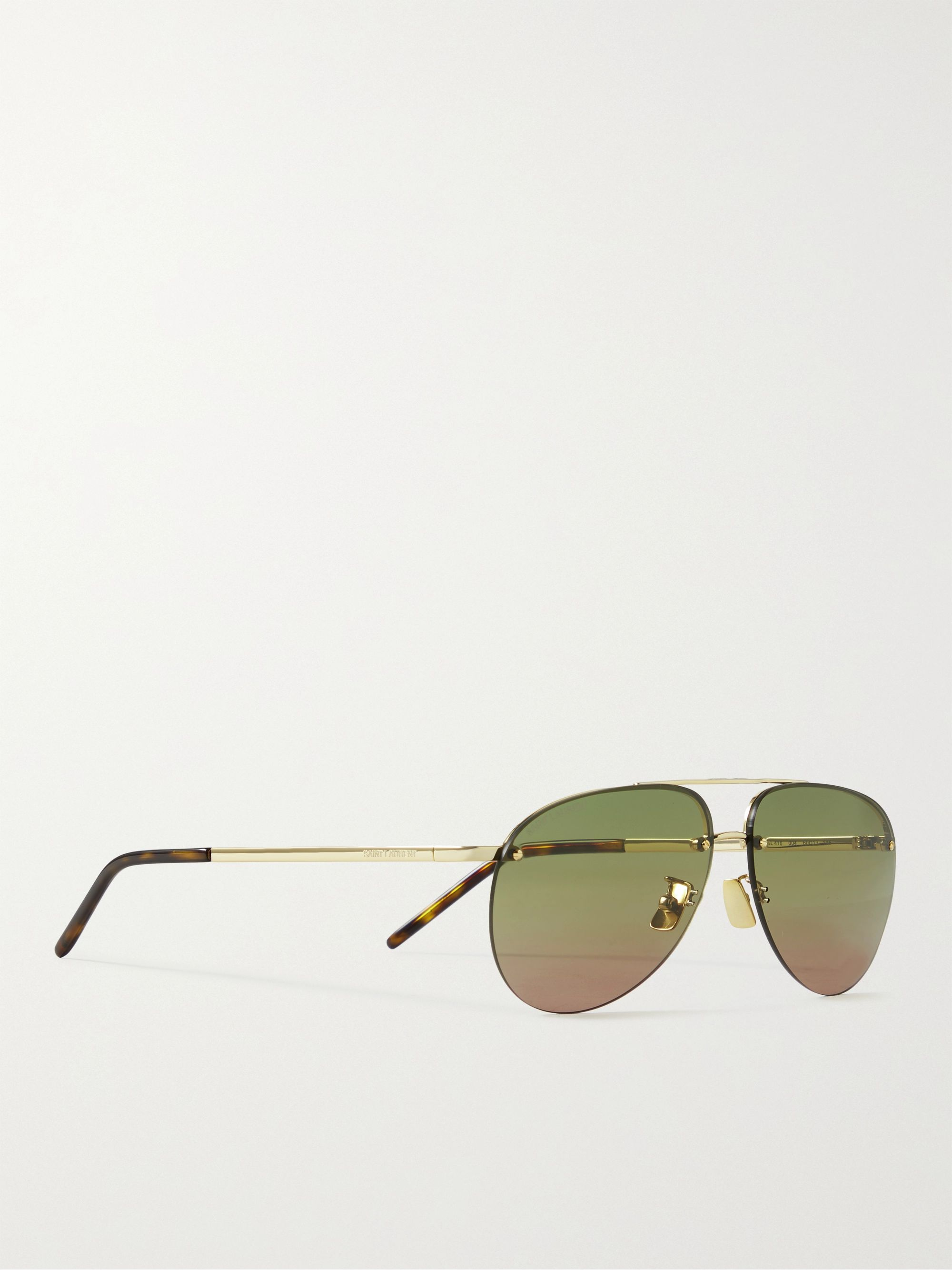 SAINT LAURENT Rimless Aviator-Style Gold-Tone Sunglasses