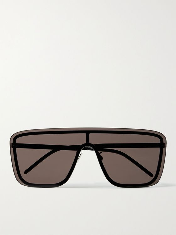 SAINT LAURENT Rimless D-Frame Metal Sunglasses