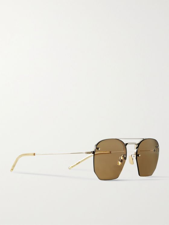 SAINT LAURENT Rimless D-Frame Gold-Tone Sunglasses