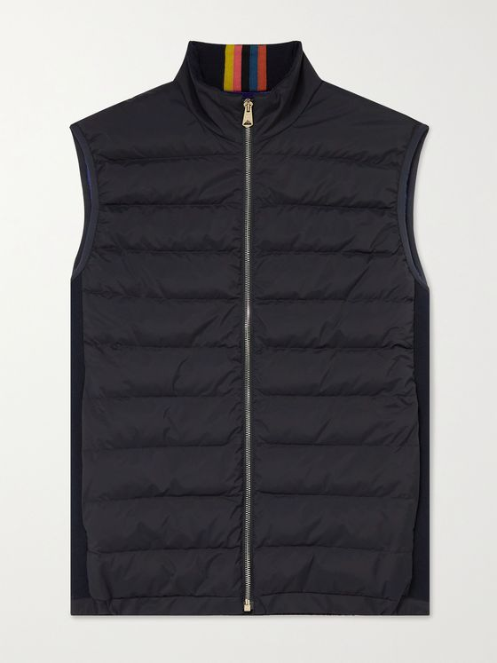 PAUL SMITH Cotton-Panelled Quilted Shell Down Gilet