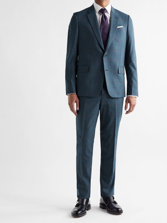 PAUL SMITH Slim-Fit Prince of Wales Checked Wool-Blend Suit Trousers