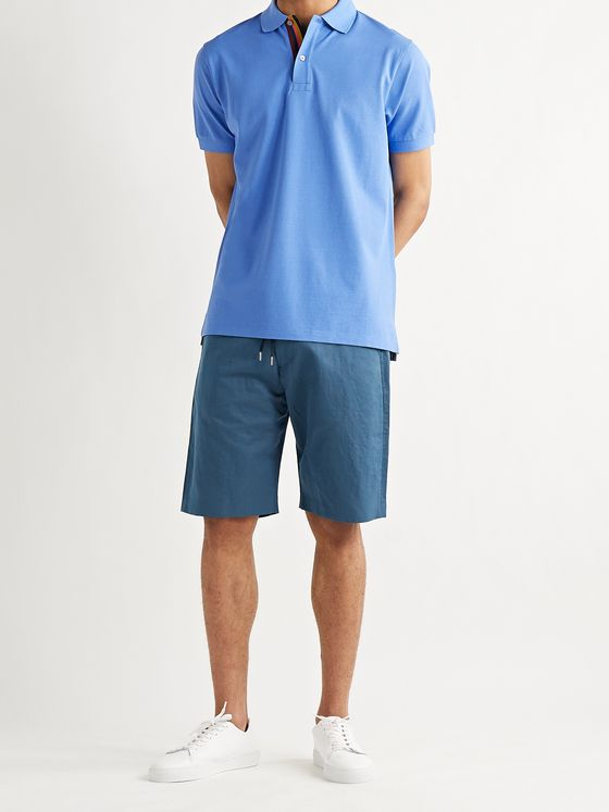 PAUL SMITH Cotton and Ramie-Blend Drawstring Shorts