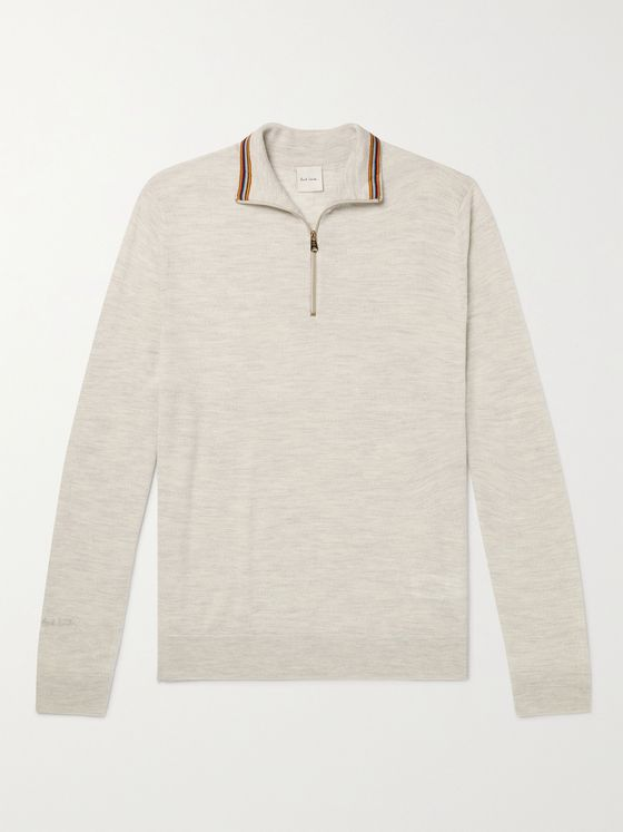PAUL SMITH Slim-Fit Mélange Half-Zip Merino Wool Sweater