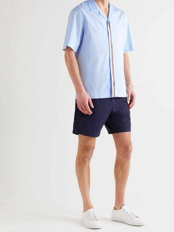 PAUL SMITH Camp-Collar Stripe-Trimmed Cotton-Poplin Shirt