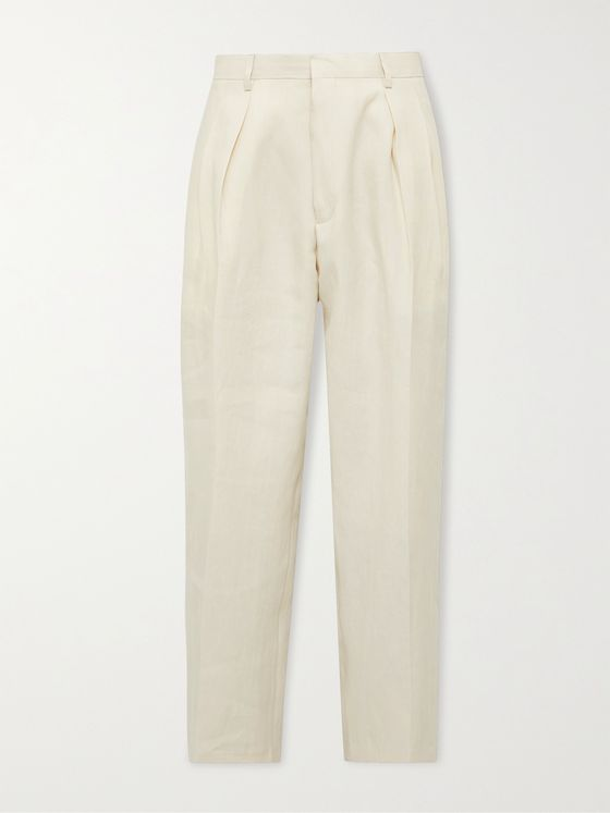 PAUL SMITH Wide-Leg Pleated Linen Trousers