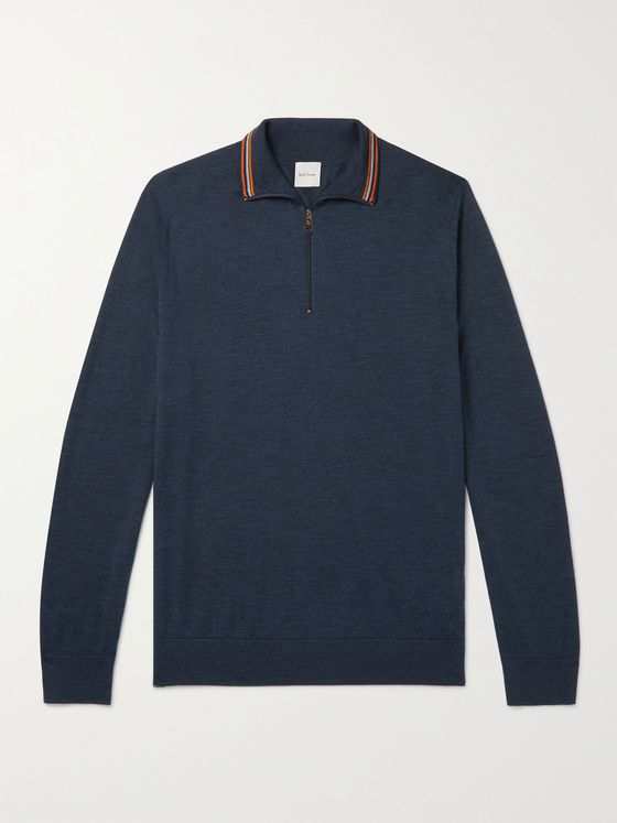 PAUL SMITH Slim-Fit Half-Zip Merino Wool Sweater