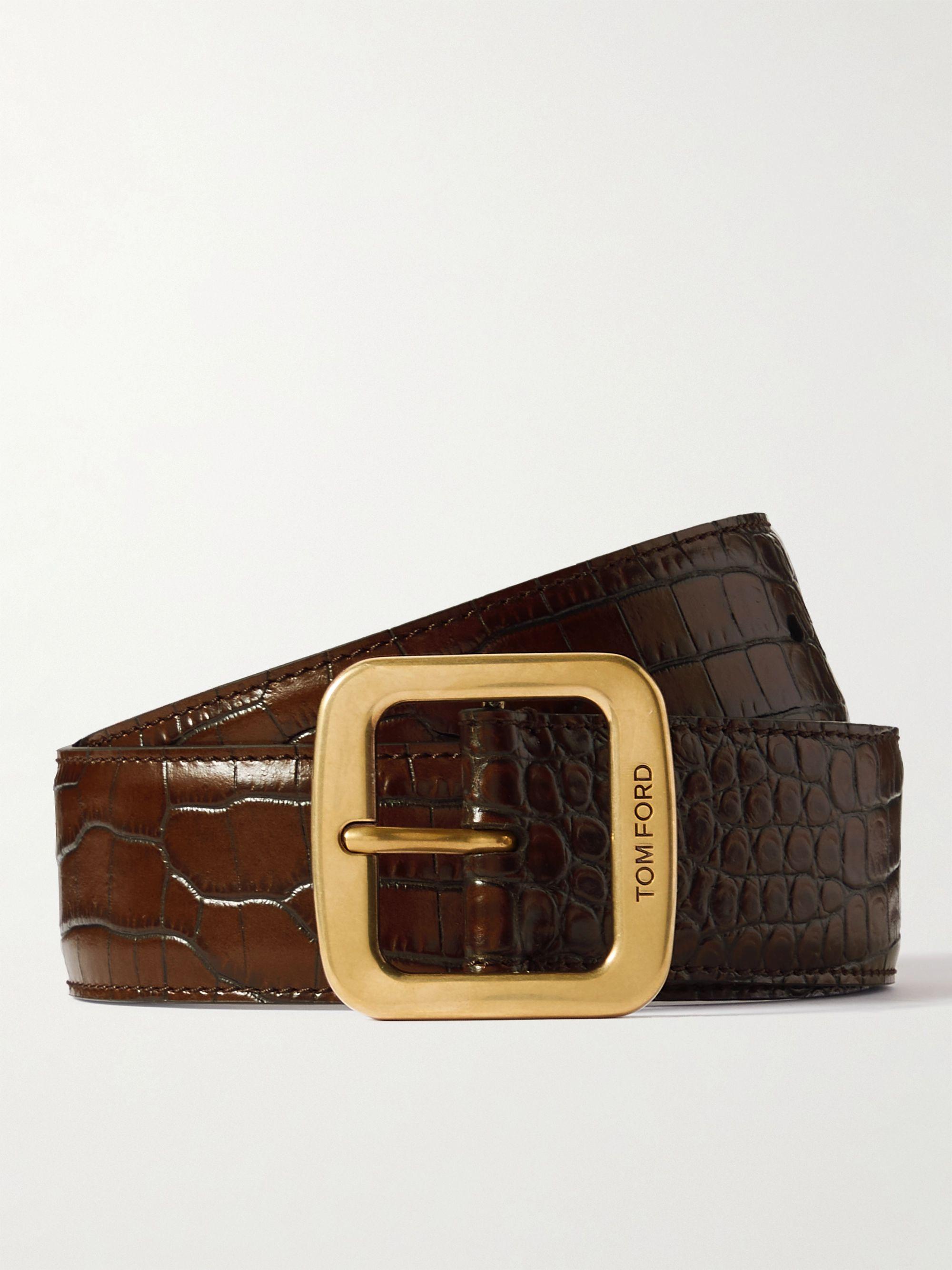 톰 포드 벨트 Tom Ford 4cm Croc-Effect Leather Belt,Brown