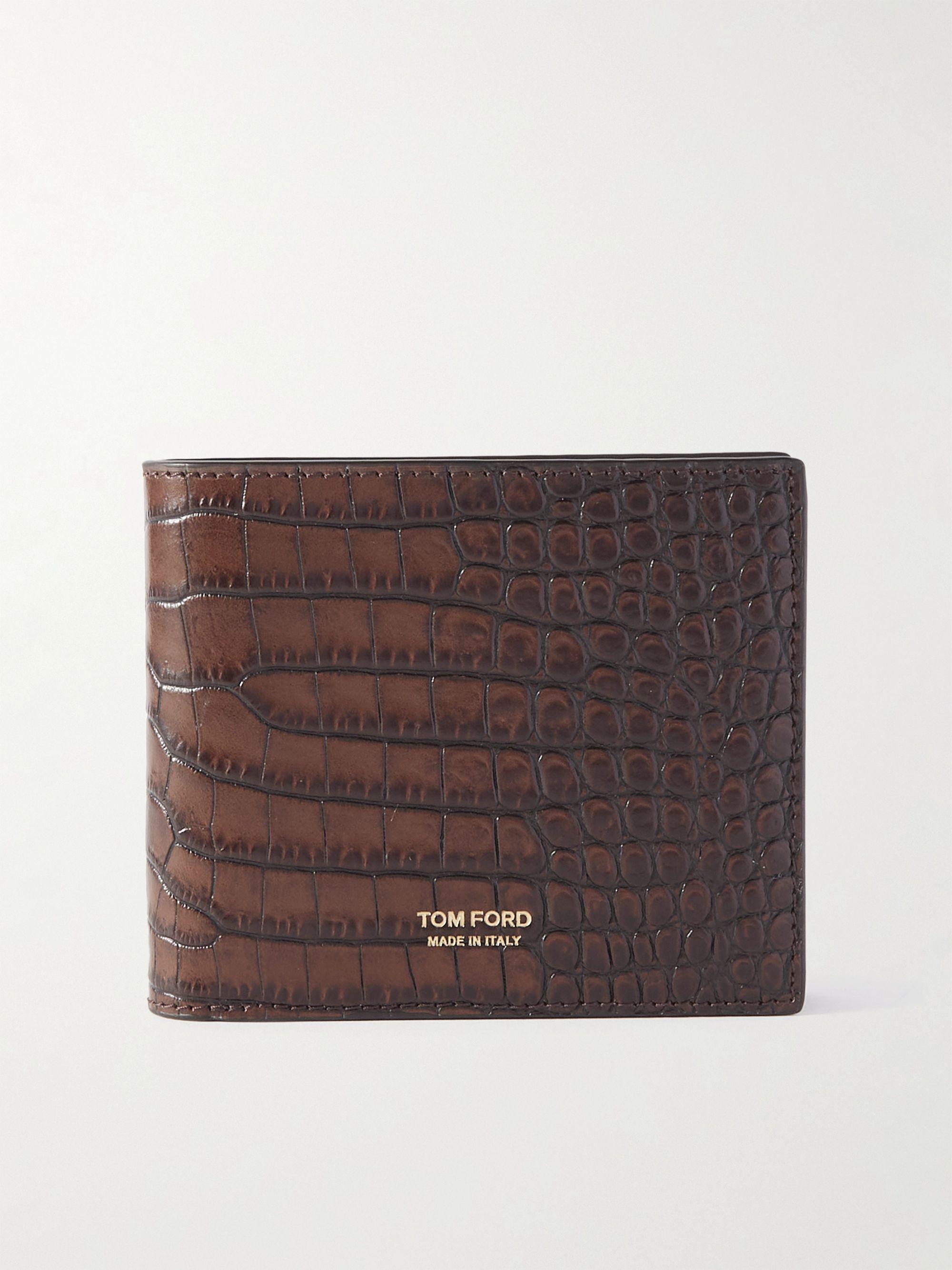 톰 포드 반지갑 Tom Ford T-Line Croc-Effect Leather Billfold Wallet,Brown